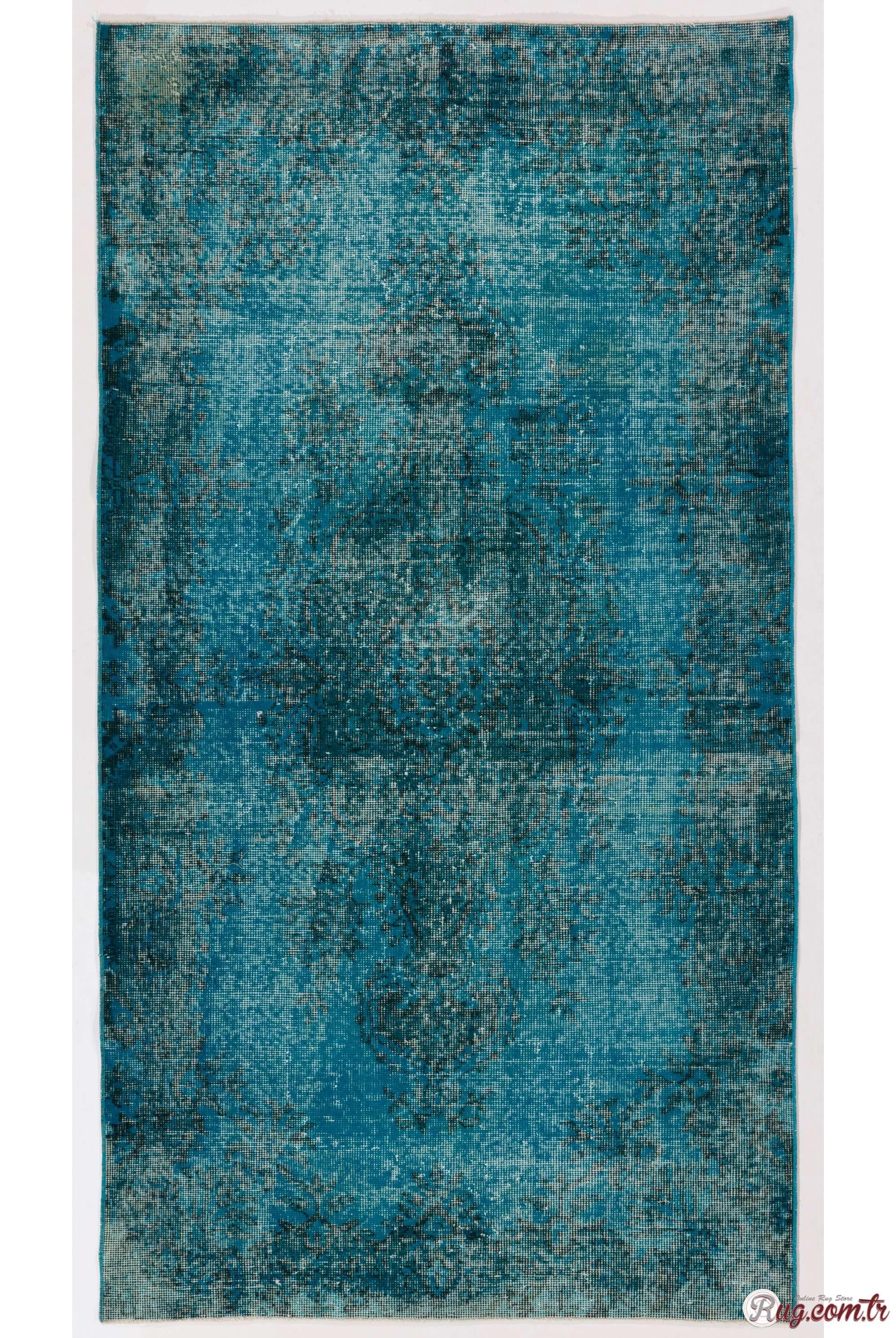 3 9 X 7 115 212 Cm Bondi Blue Color Vintage Overdyed Handmade Turkish Rug