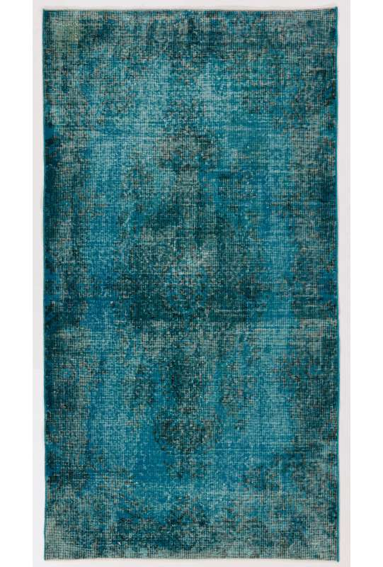 "3'9"" x 7' (115 x 212 cm) Bondi Blue Color Vintage Overdyed Handmade Turkish Rug, Blue Overdyed Rug"