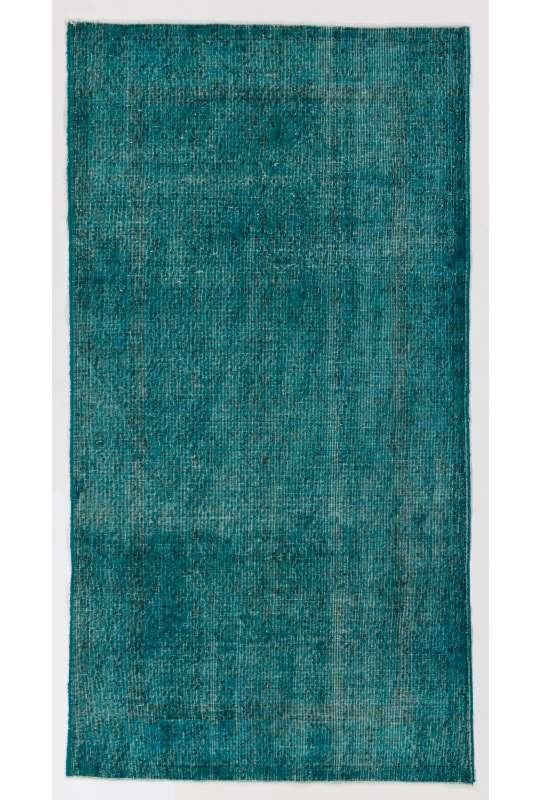 "3'9"" x 7' (115 x 217 cm) Teal Blue Color Vintage Overdyed Handmade Turkish Rug"