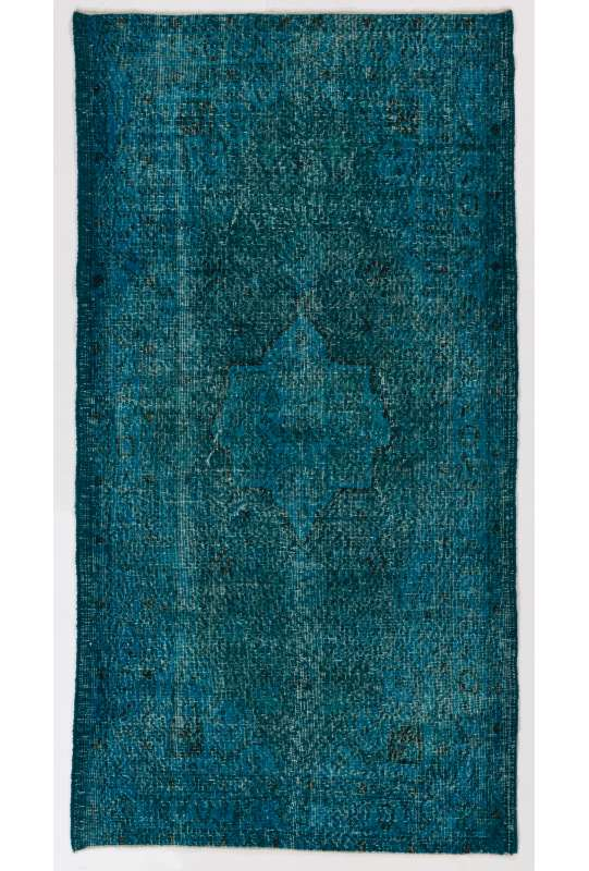 "3'9"" x 7' (115 x 218 cm) Turquoise & Teal Blue Color Vintage Overdyed Handmade Turkish Rug"