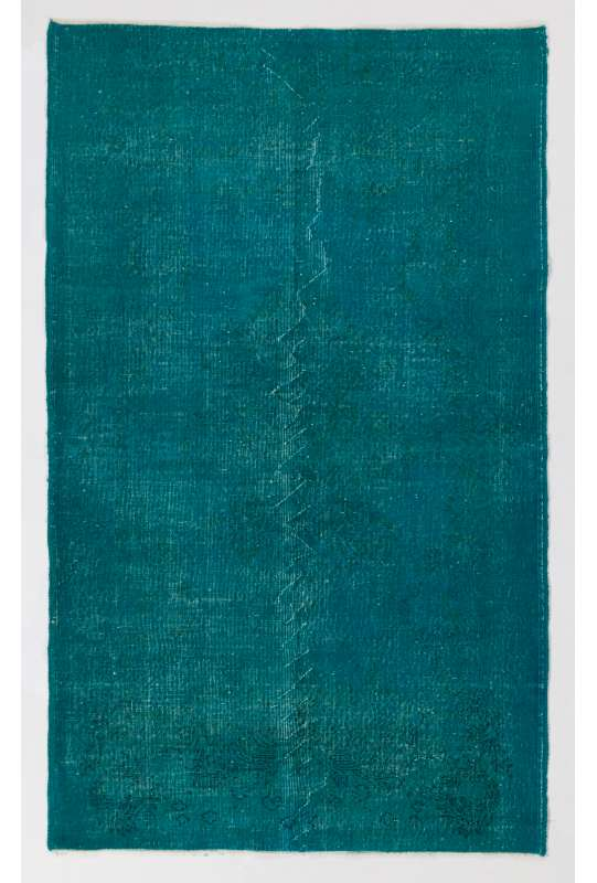 "4'9"" x 7'10"" (145 x 240 cm) Turquoise Blue Color Vintage Overdyed Handmade Turkish Rug"