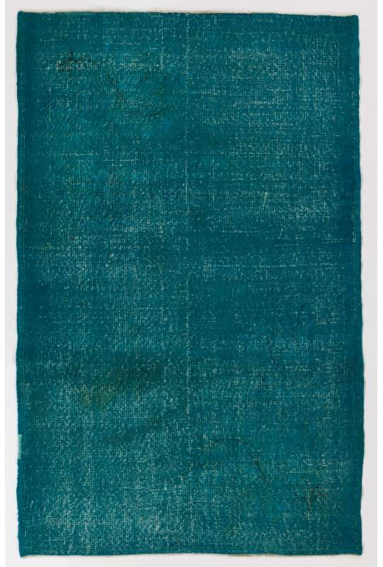 "4' x 6'2"" (122 x 189 cm) Turquoise Blue Color Vintage Overdyed Handmade Turkish Rug"