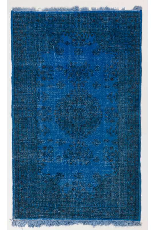 "5'3"" x 8'6"" (162 x 260 cm) Denim Blue Color Vintage Overdyed Handmade Turkish Rug"