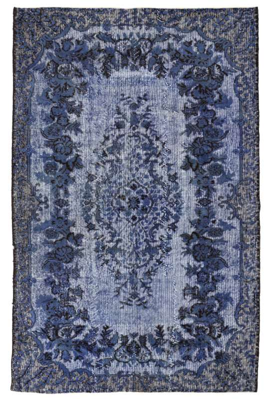 "5'6"" x 9'4"" (170 x 286 cm) Prussian Blue Color Vintage Overdyed Handmade Turkish Rug, Blue Overdyed Rug"