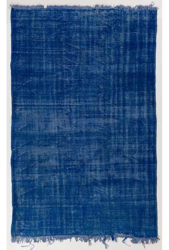 "5'8"" x 9' (175 x 275 cm) Blue Color Vintage Overdyed Handmade Turkish Rug, Blue Overdyed Rug"