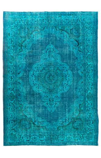 "Teal Blue Overdyed Rug 8'3"" x 11'8"" (255 x 360 cm) Turkish Handmade Vintage Rug, Overdyed Rug"