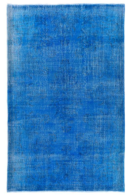 "Blue Overdyed Rug 7'5"" x 11'8"" (230 x 360 cm) Turkish Handmade Vintage Rug, Overdyed Rug"