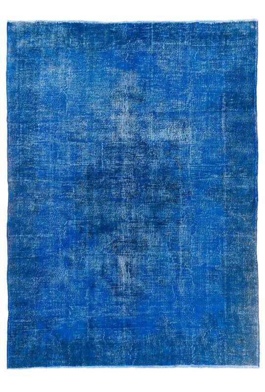 "Blue Overdyed Rug 8'9"" x 12'2"" (273 x 372 cm) Turkish Handmade Vintage Rug, Overdyed Rug"