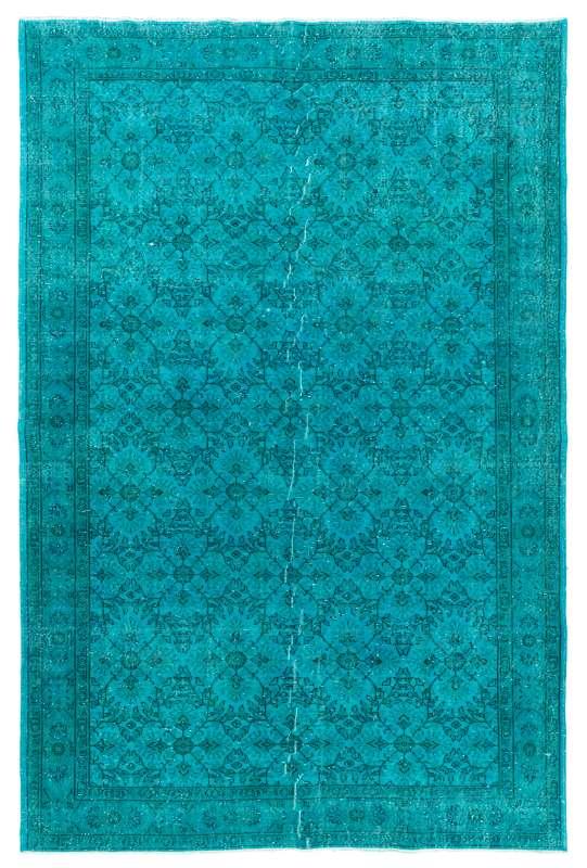 "7'4"" x 11'2"" (228 x 343 cm) Teal Blue Color Vintage Overdyed Handmade Turkish Rug"