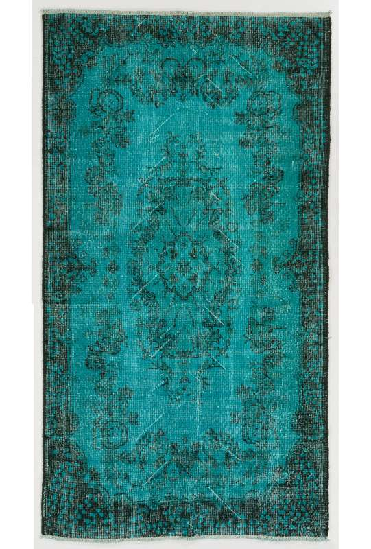 "3'8"" x 6'9"" (118 x 213 cm) Turquoise Overdyed Rug with Black Underlying Patterns, Blue Overdyed Rug"
