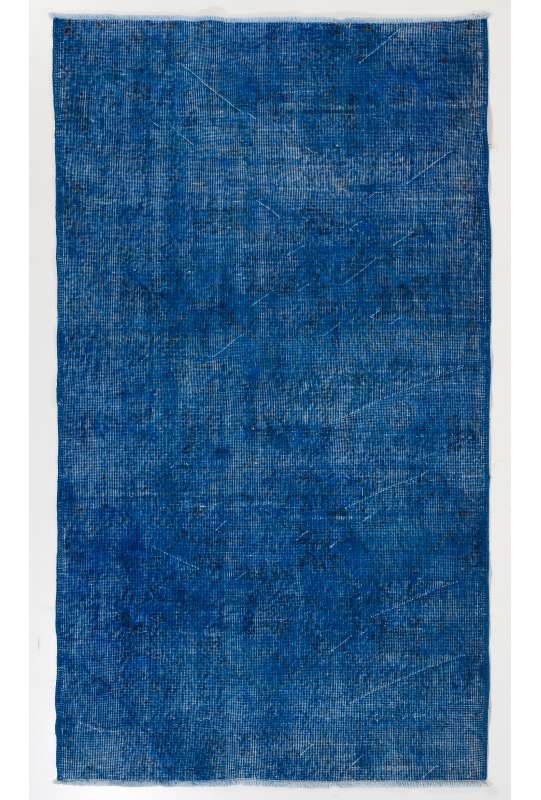 "3'8"" x 6'8"" (116 x 209 cm) Blue Color Vintage Overdyed Handmade Turkish Rug"