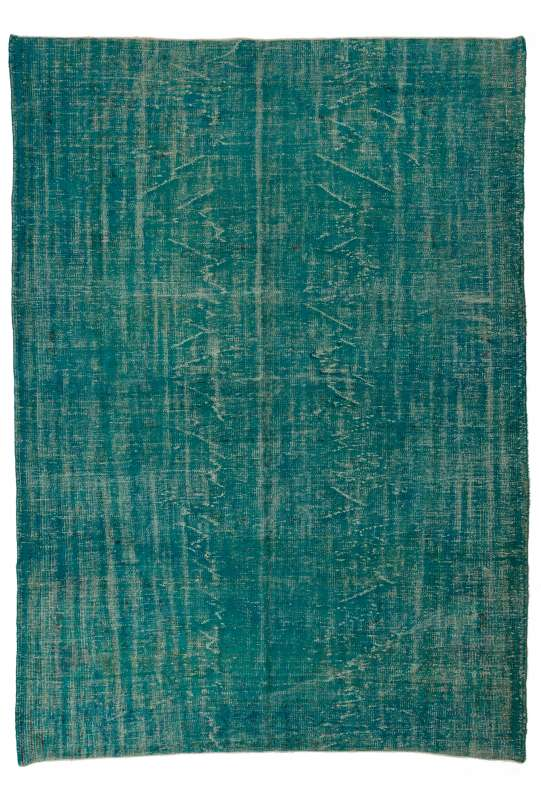 "6'9"" x 9'8"" (212 x 300 cm) Turquoise Blue Color Vintage Overdyed Handmade Turkish Rug"