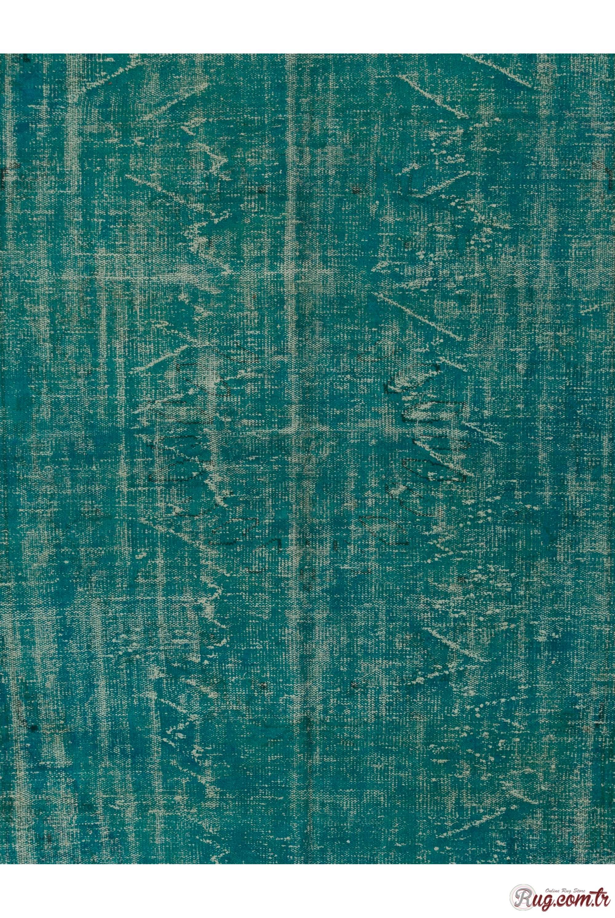 Turquoise Blue Color Vintage Overdyed Handmade Turkish Rug