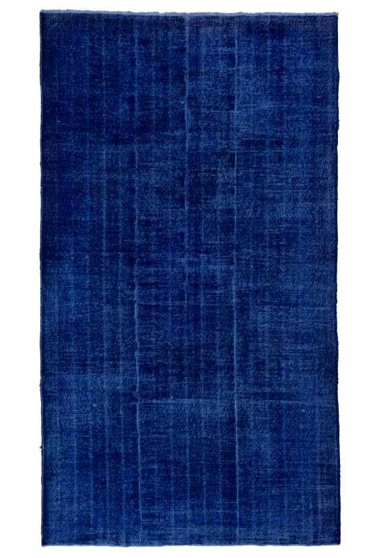 "5'9"" x 10'7"" (182x327 cm) Blue Overdyed Rug with Black Underlying Patterns, Handmade Turkish Rug"