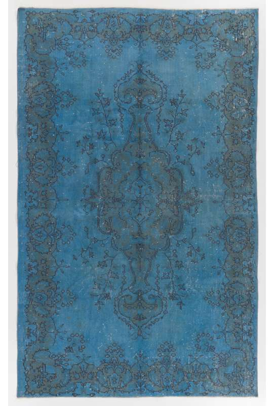 "5'7"" x 9'3"" (176 x 284 cm) Denim Blue Color Vintage Overdyed Handmade Turkish Rug"