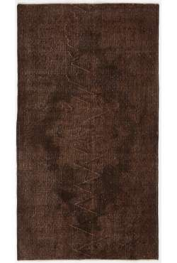 "3'10"" x 6'11"" (117 x 213 cm) Brown Color Vintage Overdyed Handmade Turkish Rug, Brown Overdyed Rug"