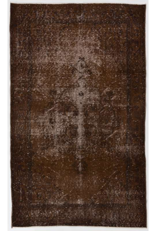 "3'10"" x 6'4"" (118 x 194 cm) Brown Color Vintage Overdyed Handmade Turkish Rug, Brown Overdyed Rug"
