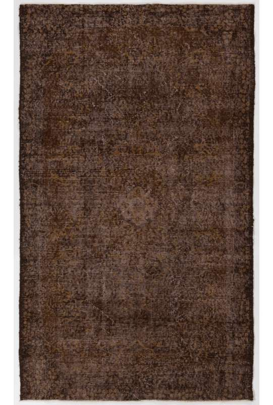 "4' x 6'10"" (122 x 210 cm) Brown Color Vintage Overdyed Handmade Turkish Rug, Brown Overdyed Rug"