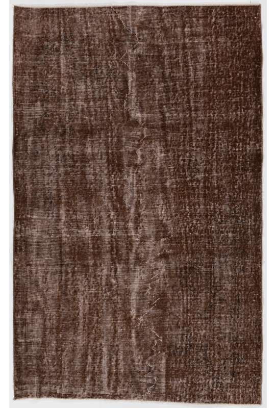 "4' x 6'4"" (122 x 195 cm) Brown Color Vintage Overdyed Handmade Turkish Rug, Brown Overdyed Rug"
