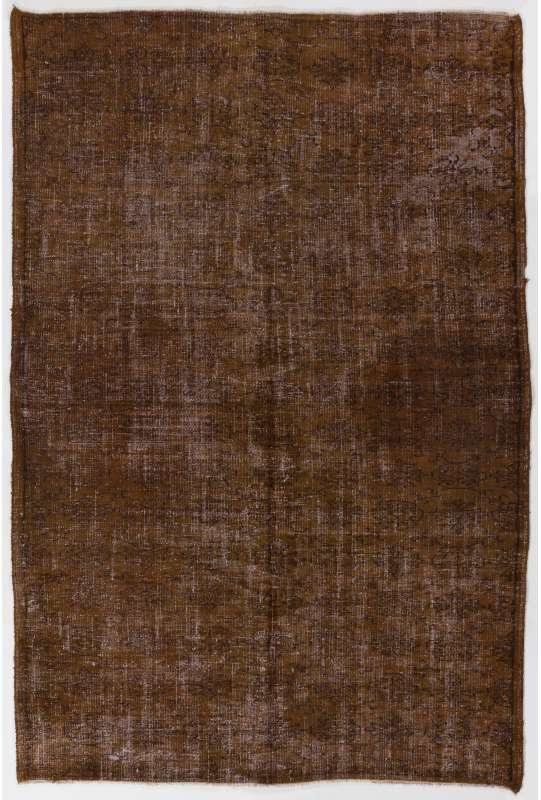 "5'8"" x 8'4"" (173 x 256 cm) Brown Color Vintage Overdyed Handmade Turkish Rug, Brown Overdyed Rug"