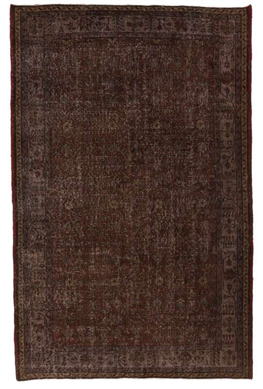 "6'3"" x 9'10"" (193 x 300 cm) Brown Color Vintage Overdyed Handmade Turkish Rug, Brown Overdyed Rug"