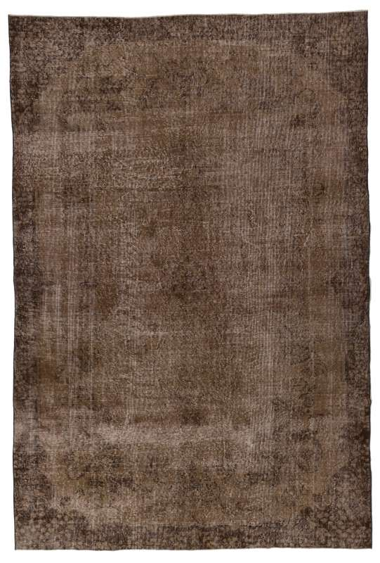 "6'5"" x 9'7"" (197 x 293 cm) Brown Color Vintage Overdyed Handmade Turkish Rug, Brown Overdyed Rug"