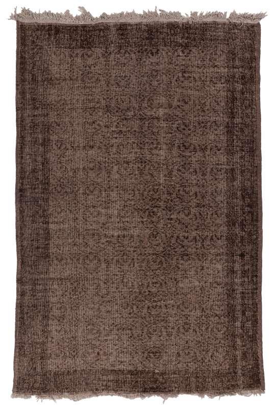 6' x 9' (185 x 275 cm) Brown Color Vintage Overdyed Handmade Turkish Rug, Brown Overdyed Rug