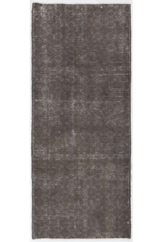"2'9"" x 6'7"" (85 x 203 cm) Dark Gray Color Vintage Overdyed Handmade Turkish Runner Rug, Gray Overdyed Small Runner Rug"