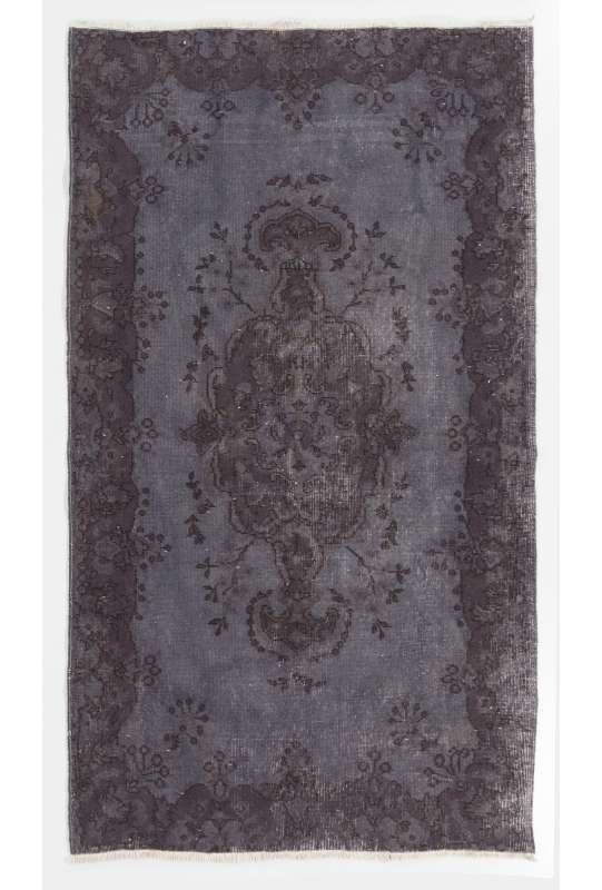 "3'10"" x 6'11"" (119 x 212 cm) Gray Color Vintage Overdyed Handmade Turkish Rug, Gray Overdyed Rug"