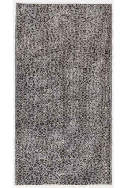 "3'4"" x 6'4"" (104 x 195 cm) Gray Color Vintage Overdyed Handmade Turkish Rug with Brown Underlying patterns, Gray Overdyed Rug"