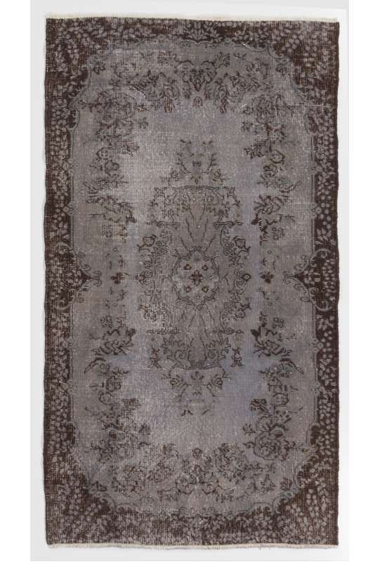 "3'8"" x 6'10"" (114 x 209 cm) Gray Color Vintage Overdyed Handmade Turkish Rug with Brown Underlying Patterns, Gray Overdyed Rug"