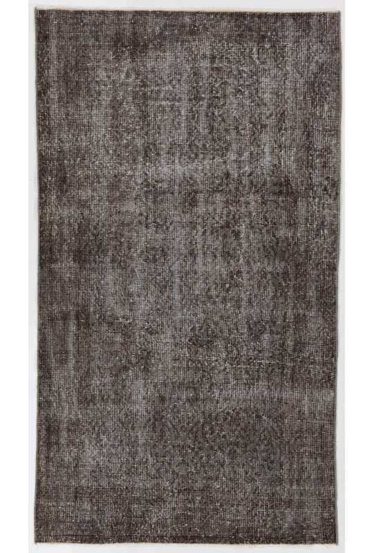 "3'8"" x 6'6"" (114 x 200 cm) Gray Color Vintage Overdyed Handmade Turkish Rug, Gray Overdyed Rug"