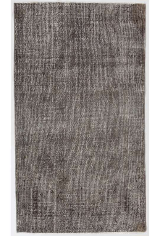 "3'8"" x 6'8"" (113 x 204 cm) Gray Color Vintage Overdyed Handmade Turkish Rug, Gray Overdyed Rug"