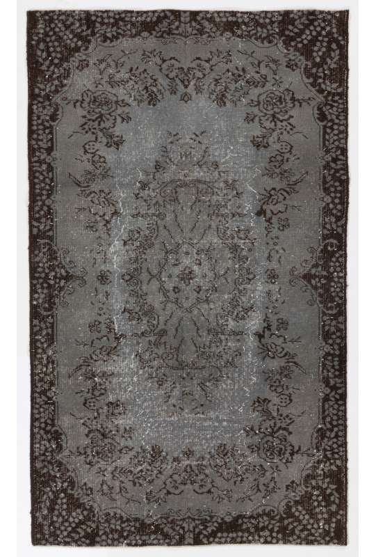 "4' x 6'10"" (123 x 209 cm)  Gray Color Vintage Overdyed Handmade Turkish Rug with Black Underlying patterns, Gray Overdyed Rug"