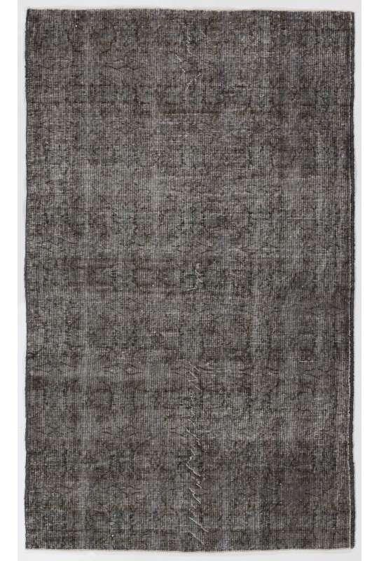 "4' x 6'6"" (122 x 200 cm) Gray Color Vintage Overdyed Handmade Turkish Rug, Gray Overdyed Rug"