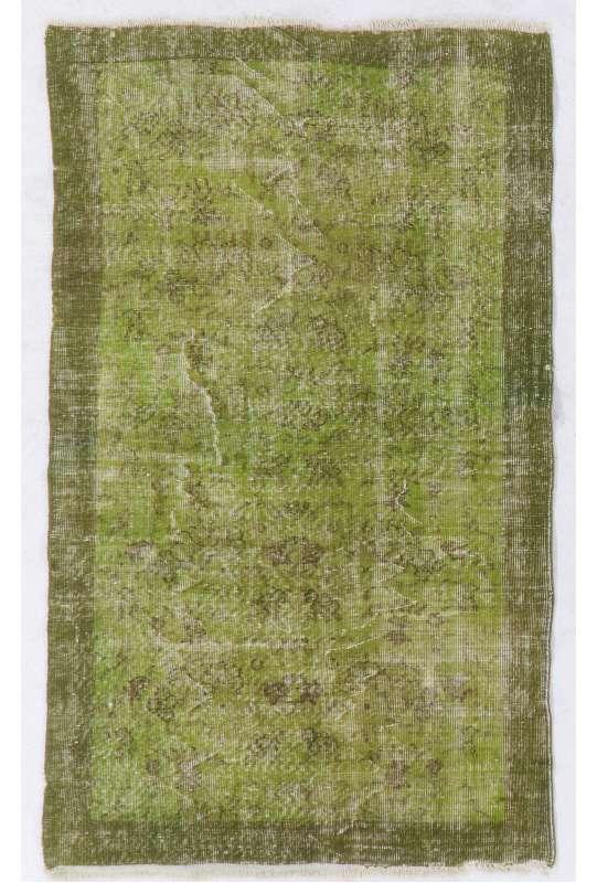 "Green Overdyed Rug 3'9"" x 6'4"" (115 x 195 cm) Turkish Handmade Vintage Rug, Olive Green Overdyed Rug"