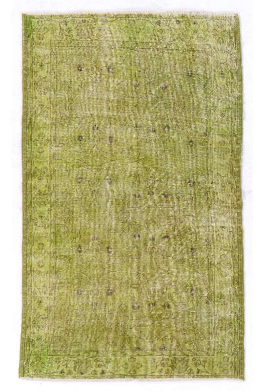 "Green Overdyed Rug 3'11"" x 6'5"" (120 x 197 cm) Handmade Vintage Turkish Rug, Green Handmade Overdyed Rug"