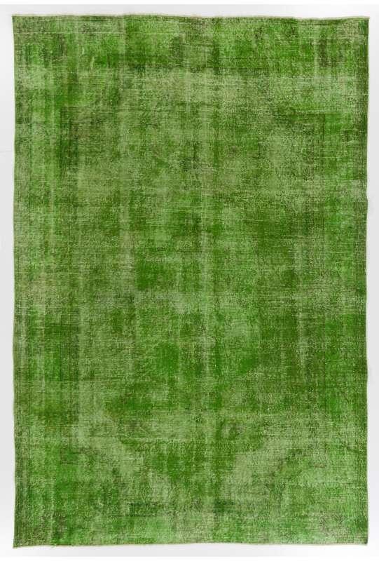 "Green Overdyed Rug 6'11"" x 10'2"" (213 x 312 cm) Turkish Handmade Vintage Rug, Green Handmade Overdyed Rug"