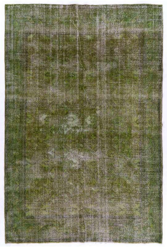 "Green Overdyed Rug 7'2"" x 10'7"" (220 x 325 cm) Turkish Handmade Vintage Rug, Green Handmade Overdyed Rug"