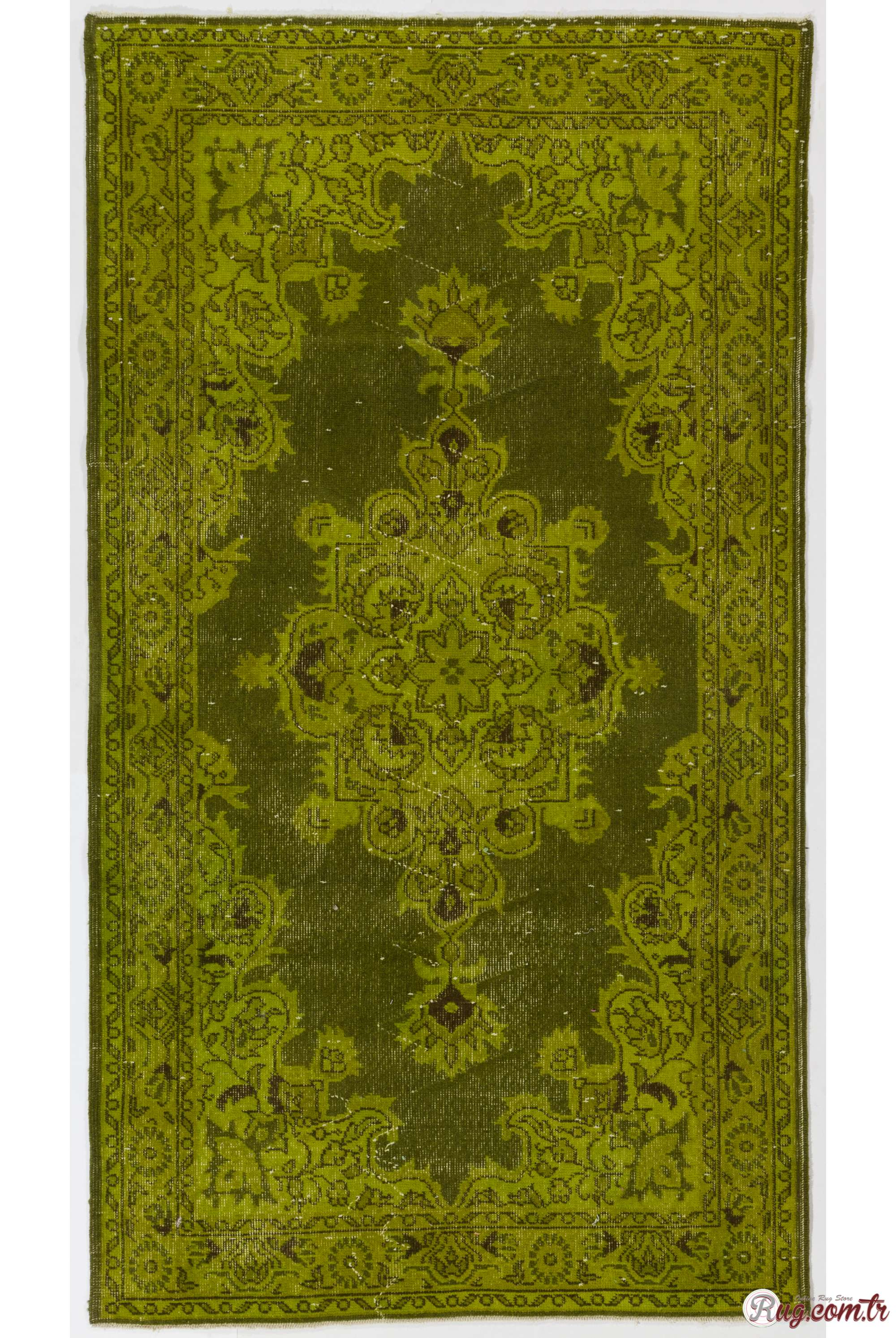 Olive Green Color Vintage Overdyed Handmade Turkish Rug