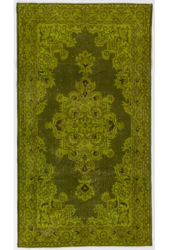 "3'10"" x 6'11"" (117 x 213 cm) Olive Green Color Vintage Overdyed Handmade Turkish Rug, Green Overdyed Rug"