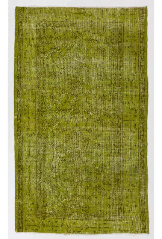 """3'10"""" x 6'8"""" (119 x 204 cm) Moss Green Color Vintage Overdyed Handmade Turkish Rug, Green Overdyed Rug"""