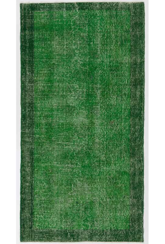 "3'7"" x 7'1"" (110 x 216 cm) Forest Green Color Vintage Overdyed Handmade Turkish Rug, Green Overdyed Rug"