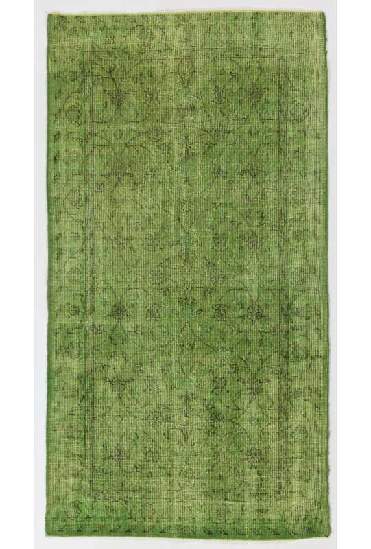 "3'8"" x 6'11"" (114 x 212 cm) Pistachio Green Color Vintage Overdyed Handmade Turkish Rug, Green Overdyed Rug"