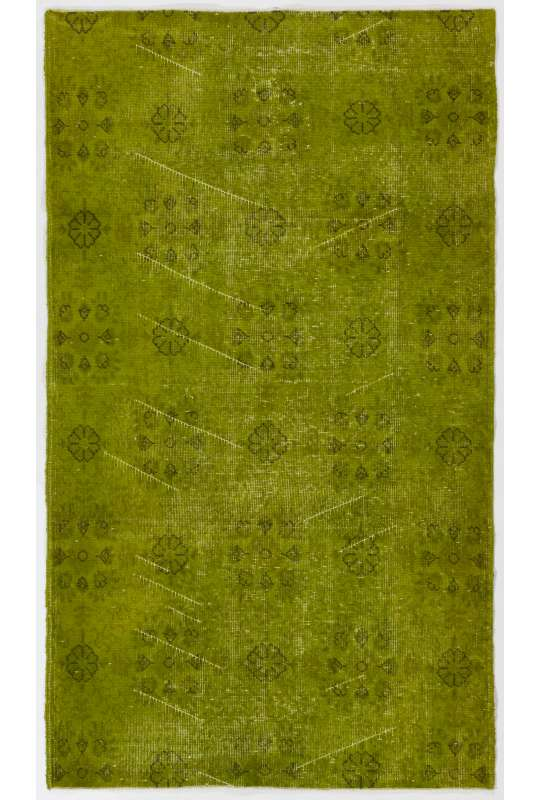 "3'8"" x 6'6"" (114 x 200 cm) Moss Green Color Vintage Overdyed Handmade Turkish Rug, Green Overdyed Rug"