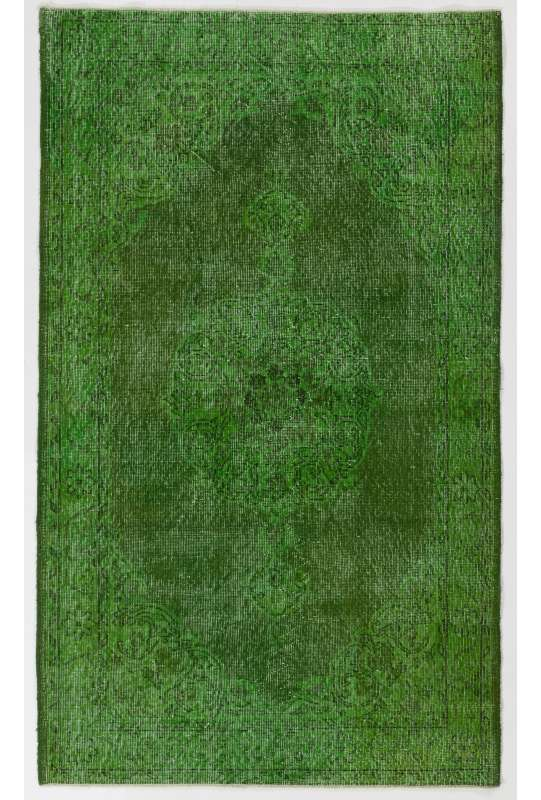 "4'2"" x 7' (128 x 215 cm) Green Color Vintage Overdyed Handmade Turkish Rug, Green Overdyed Rug"