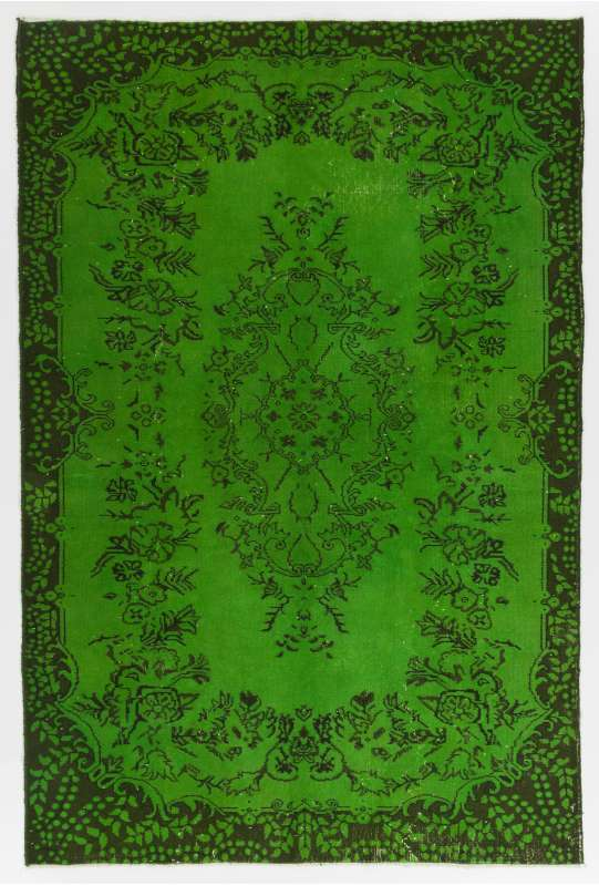 "5'8"" x 8'8"" (175 x 265 cm) Green Color Vintage Overdyed Handmade Turkish Rug, Green Overdyed Rug"