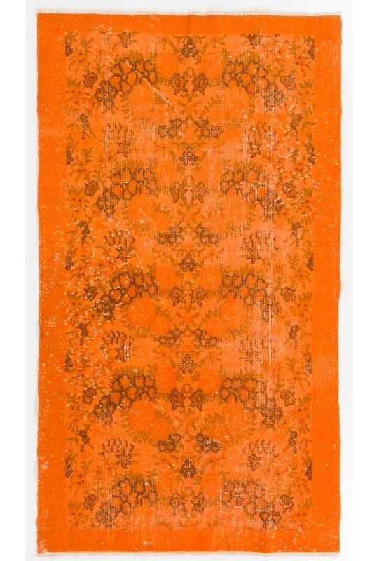 """3'8"""" x 6'5"""" (112 x 196 cm) Orange Color Vintage Overdyed Handmade Turkish Rug, Orange Overdyed Rug"""