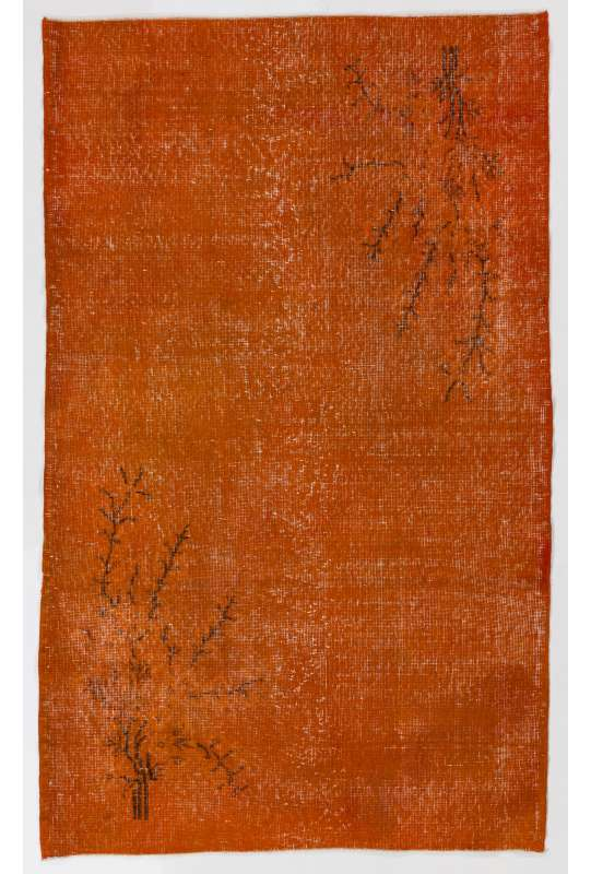 "3'9"" x 6'11"" (116 x 213 cm) Orange Color Vintage Overdyed Handmade Turkish Rug, Orange Overdyed Rug"