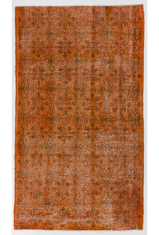 "3'9"" x 6'9"" (116 x 208 cm) Orange Color Vintage Overdyed Handmade Turkish Rug, Orange Overdyed Rug"